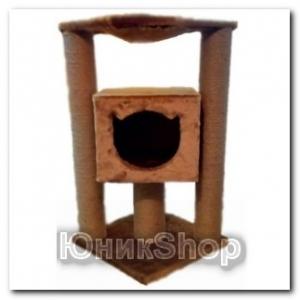 Когтеточка UnicShop для кошек Домик с Гамаком 40х40х80см