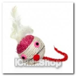 Игрушка Шар мышка с перьями сизаль 6см