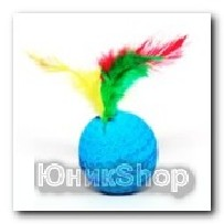 Игрушка Мяч мягкий с перьями поролон 4см