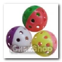 Игрушка мяч пластиковый малый Радуга с колокольчиком пластик 4,3см