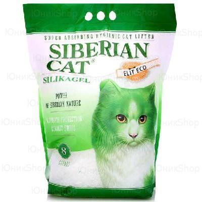 Наполнитель Сибирская Кошка для кошачьего туалета Элита ЭКО силикагель зеленые гранулы 8л