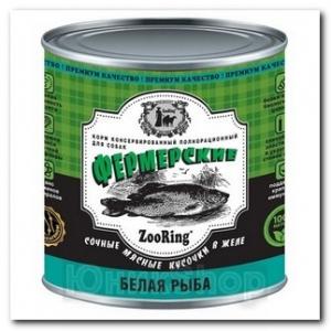 ZooRing для собак Сочные кусочки мяса в желе Белая рыба 850г 1шт