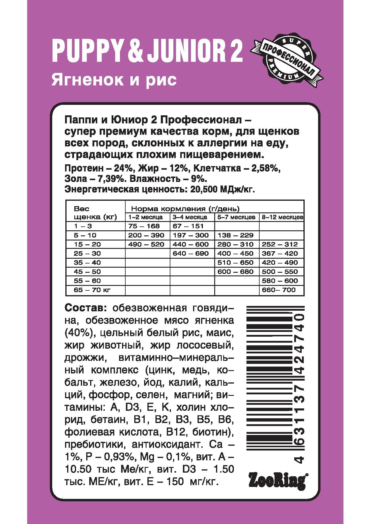 Корм ZooRing для щенков Puppy Junior-2 (Паппи и Юниор-2) Ягненок и рис (без пшеницы) 10кг склонных к аллергии и плохому пищеварению