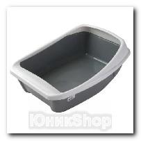 Туалет Сибирская кошка для кошек ЕВРО глубокий с бортиком 44х32х16см