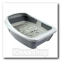 Туалет Сибирская кошка для кошек ЕВРО глубокий с сеткой и бортиком 44х32х16см